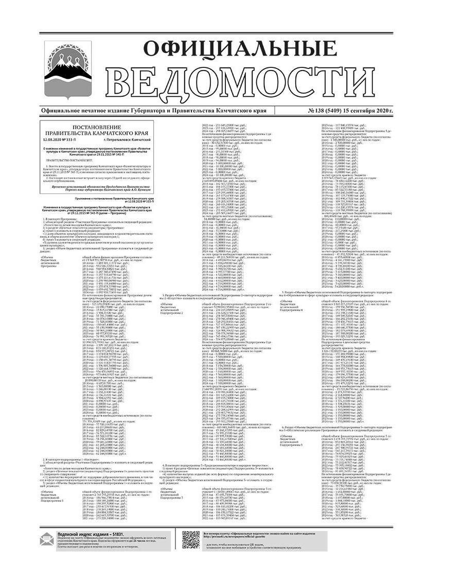 №138 (5409) от 15.09.2020