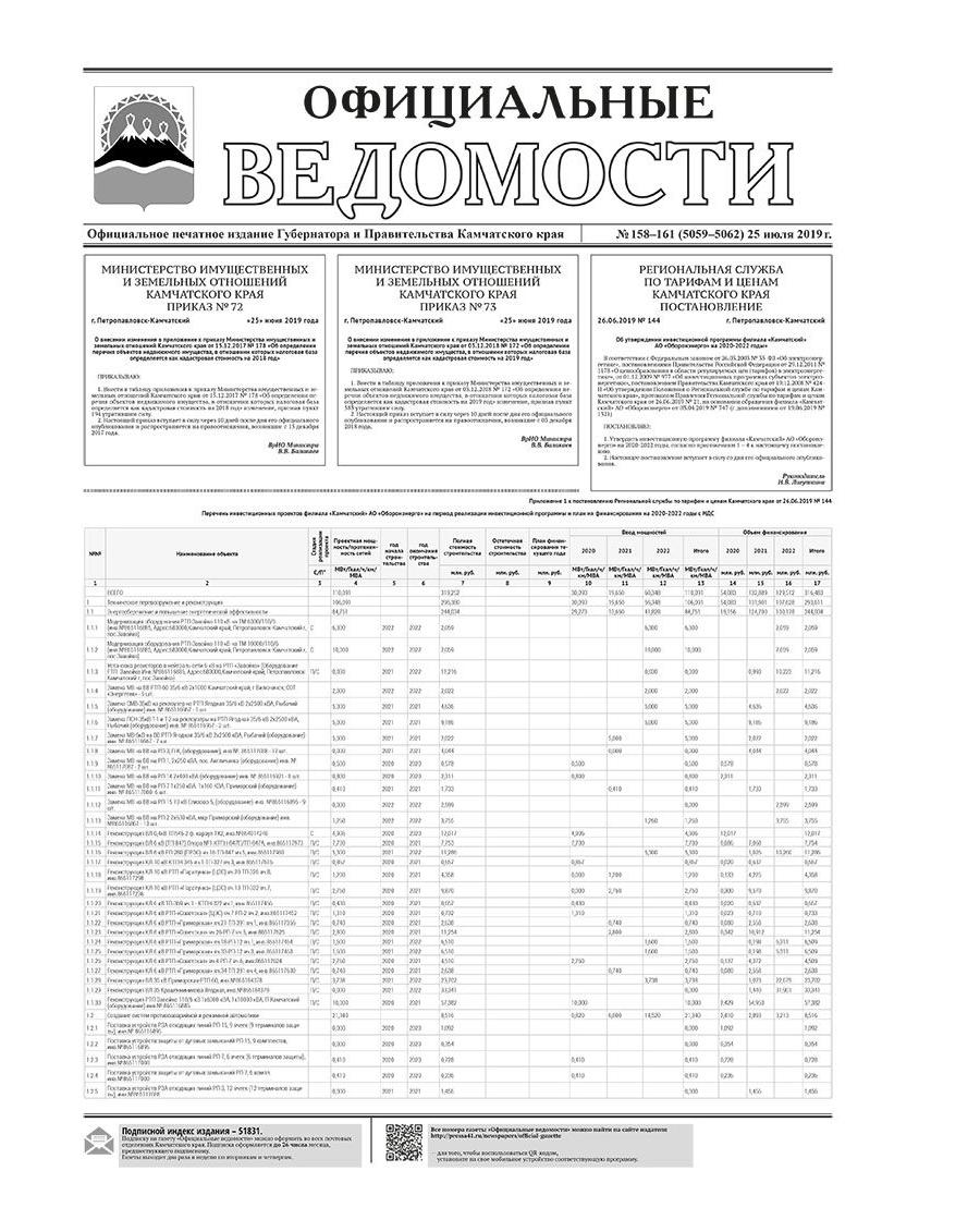 ОВ №158–161 (5059–5062) от 25.07.2019